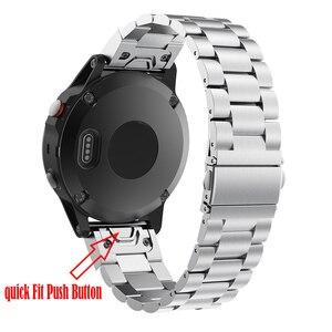 Image 3 - 22 20MM kordonlu saat kayışı Garmin Fenix 6X 6S 6 Pro 5X 5 5S artı 3HR hızlı serbest bırakma paslanmaz çelik yedek bilek bandı 26MM
