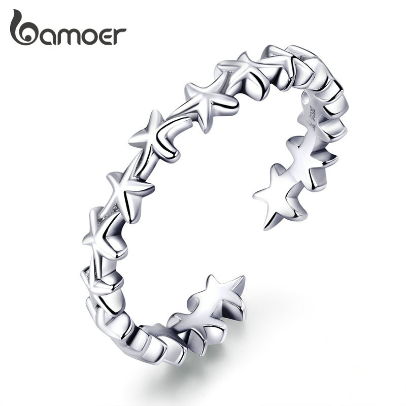 Bamoer 925 Sterling Silver Ring Cheerful Starfish Adjustable Size Ring For Women Engagement Fine Jewelry Anniversary Gift GxR607