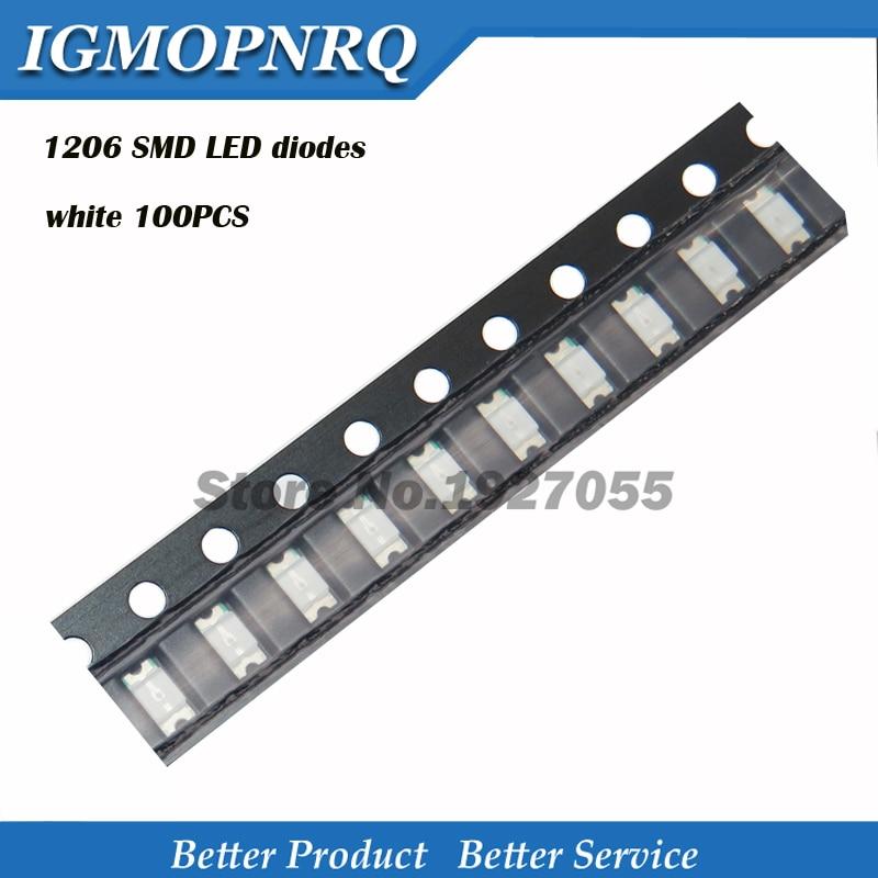 100pcs Superior Leds 1206 SMD Led Light White 1206 Light-emitting New