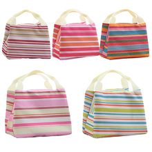 Fashion Stripe Insulated Lunch Bag Tote Travel Picnic Bags for Women Men Kids Fresh Cooler Thermal Food Storage Box