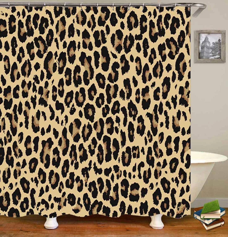 trendy african style leopard bathroom set cheetah leopard print shower curtain bathroom curtain for bathtub mat rug home decor