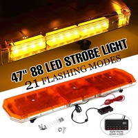 47 88 LED Light Bar Amber Strobe Beacon Recovery Hazard Emergency Flashing Lamp Amber Roof Warning Lamps 12V 24V 21 Modes