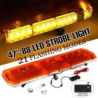 47 88 LED Light Bar Amber Strobe Beacon Recovery Hazard Emergency Flashing Lamp Amber Roof Warning Lamps 12V 24V 21 Modes