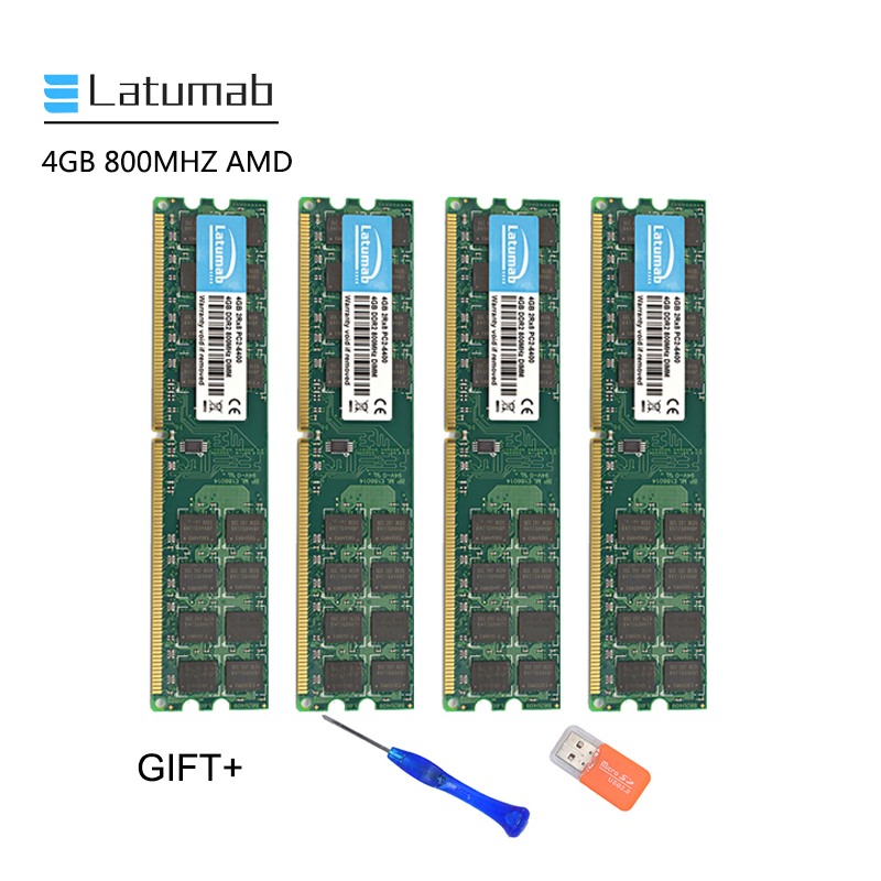 Latumab <font><b>4GB</b></font> 8GB <font><b>DDR2</b></font> 800mhz PC2 6400 AMD Cpu Chipset Motherboard Memory <font><b>Ram</b></font> PC Memory <font><b>RAM</b></font> Module 1pcs/2pcs/4pcs High Quality image