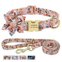 Dog-Collar Leash Flower-Accessory Engraved Dogs Printed Nylon Custom Pet-Walking-Belt