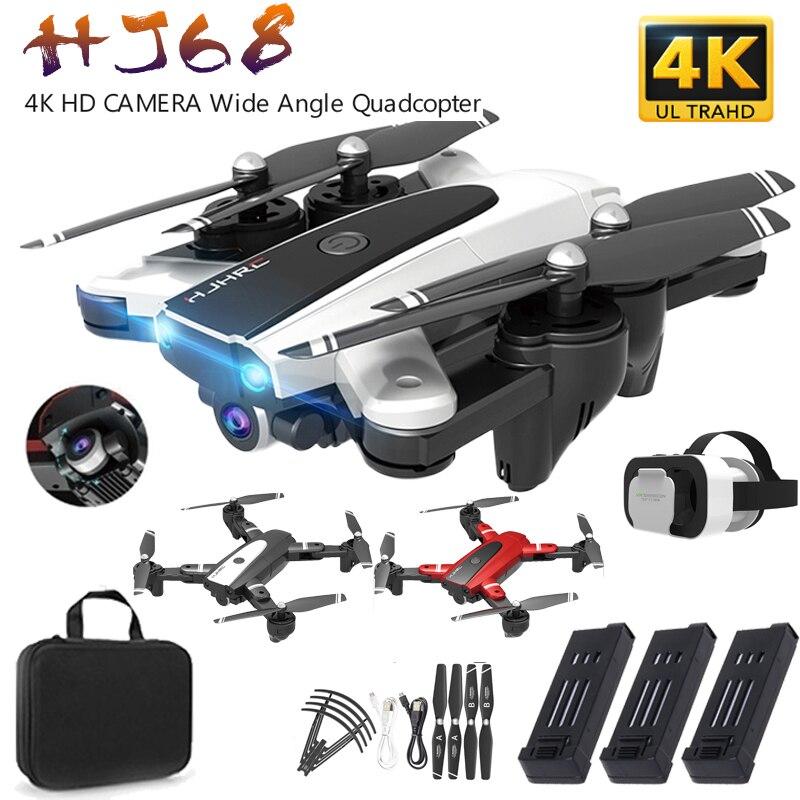 Novo hj68 dobrável profissional zangão com câmera 4k hd selfie siga wifi fpv grande angular rc helicóptero de quatro eixos com vidros vr