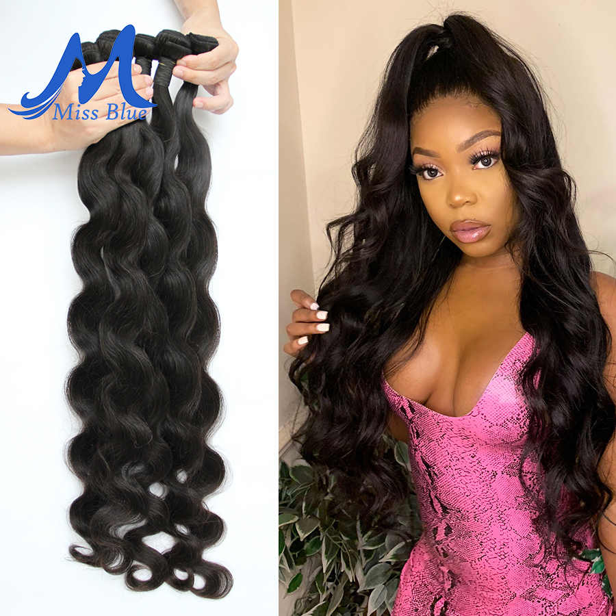Missblue Body Wave Brazilian Hair Weave Bundles 100% Remy Human Hair Bundle 3 4 Bundle Remy Hair Extension 32 34 36 38 40 Inch