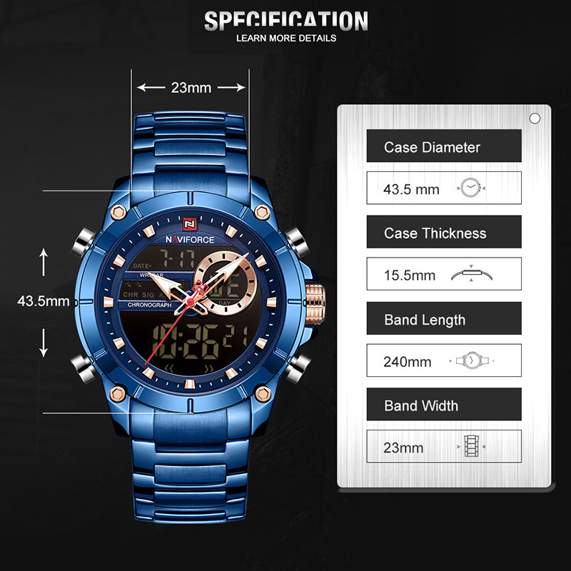 Image 2 - NAVIFORCE Men's Watches Top Brand Army Military Waterproof Sport Watch Men LED Quartz Digital Wrist Watch Male Relogio Masculino-in Quartz Watches from Watches