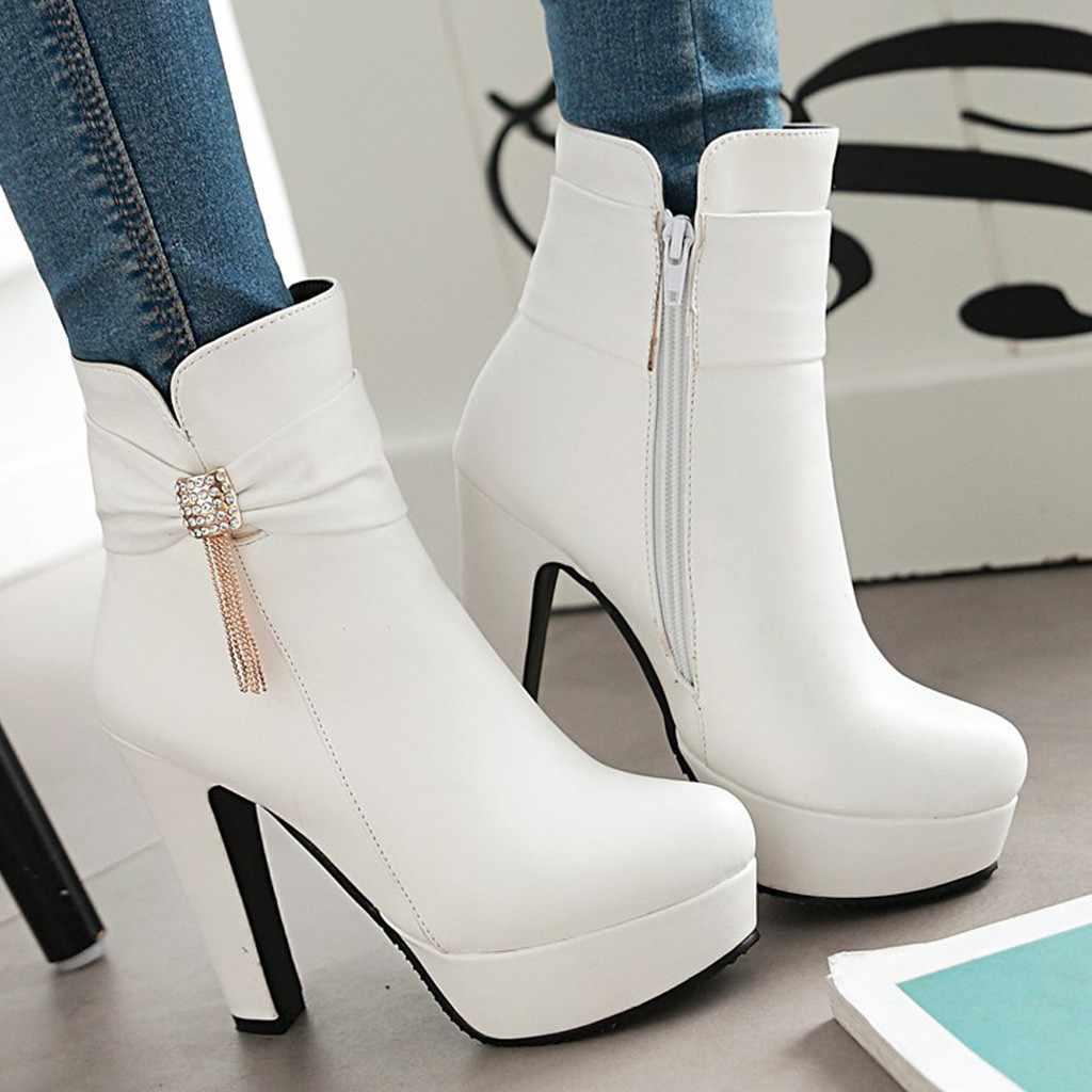 Kış yüksek topuk platformu sıcak kar botları tutmak kadın orta buzağı taklidi yay düşük çizmeler kalın topuk deri stiletto kadın ayakkabı