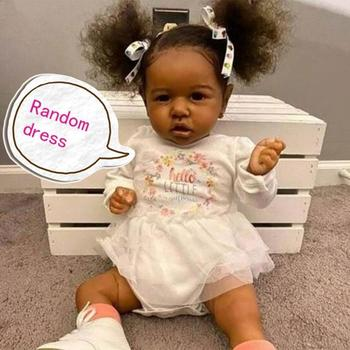 55cm Body Silicone Black Doll Realistic Rebirth Baby Girl Toddler Hair Dolls Newborn Princess Bebe Curly Toys - discount item  31% OFF Dolls & Accessories