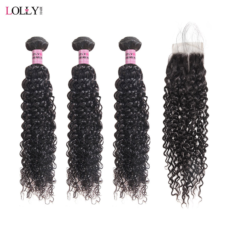 Lolly Curly Hair Bundles With Closure Non Remy Human Hair 3 Bundles With Lace Closure Brazilian Hair Weave Bundles With Closure