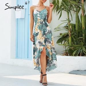 Image 1 - Simplee seksi çiçek baskı kadın elbise kolsuz yüksek bel bodycon yaz elbisesi rahat bayanlar kayış ruffled boho plaj elbise