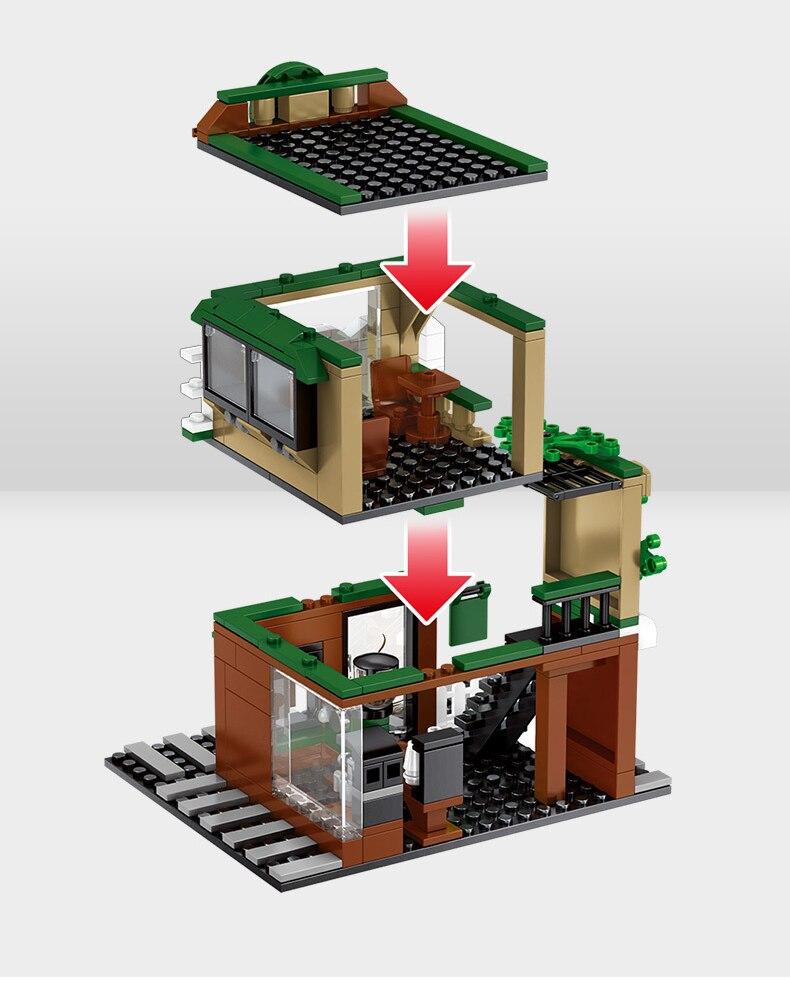 Street Hamburger Cafe Retail Convenience Store Architecture Building Blocks Compatible Legoed Technic City Street View Brick Toy 33