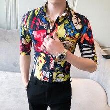 HOMME 2020 ฤดูร้อนครึ่งแขนเสื้อผู้ชายเกาหลีแฟชั่น SLIM FIT เซ็กซี่ความงามพิมพ์ผู้ชายสบายๆเสื้อ Streetwear เสื้อ