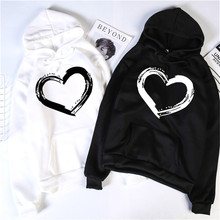 Harajuku Heart Print  Hoodies Women Long Sleeve O Neck Loose Hoodie 2020 Autumn Winter Hoodies Long Sleeve Female Sweatshirt