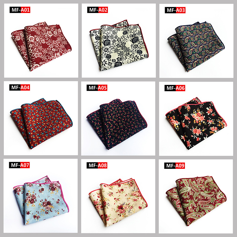Matagorda 100% Cotton Hanky Floral Flower Printed Pocket Square Handkerchief Soft Tie For Men Mouchoir Cravat Scarf Jewelry