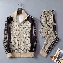 Bom homem primavera e outono moda sportssuit europeu e americano 3d impressão de manga longa jaqueta com zíper + esportes jogging pant