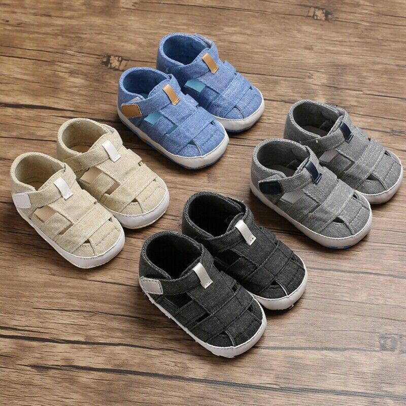 Summer Baby Newborn Shoes Soft Crib Sole Canvas Shoes Girl Boy Kid Summer Bukle  0-18 M