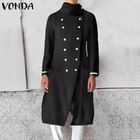 VONDA женские тренчи, женские тонкие дикие пальто средней длины, двубортные Женские повседневные кардиганы размера плюс S-5XL