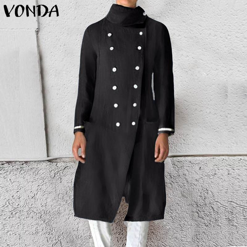VONDA Women Trench Coats Female Slim Wild Medium Length Coats Double-breasted Ladies Casual Cardigan Plus Size S-5XL
