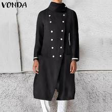 VONDA Women Trench Coats Female Slim Wild Medium Length Coats Double-breasted La