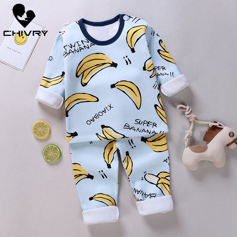 2020 New Kids Boys Pajama Sets Cartoon Long Sleeve O-Neck T-Shirt Tops With Pants Baby Girls Autumn Winter Warm Sleeping Clothes