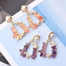 Женские серьги с фиолетовым/розовым камнем ztech корейские элегантные
