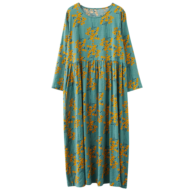 Cotton Loose Women Casual Spring Dress Long Sleeve Autumn Dress Plus Size Long Maxi Dress Print Floral Female Vintage Dress 6