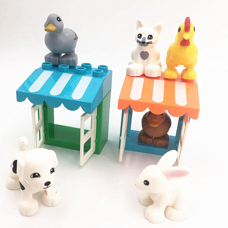 Farm Animals Chicken Duck Cat Dog Accessories Building Blocks Baby Toys For Children Compatible With Duploed Parts