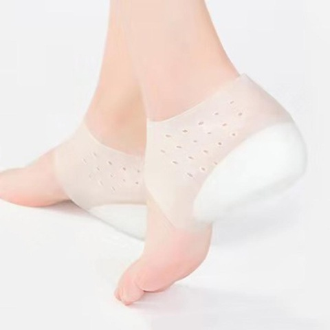 Invisible Height Increase Socks Women Men Heel Pads Silicone Gel Lift Insoles Dress In Socks Cracked Foot Skin Care Tool Massage Lahore