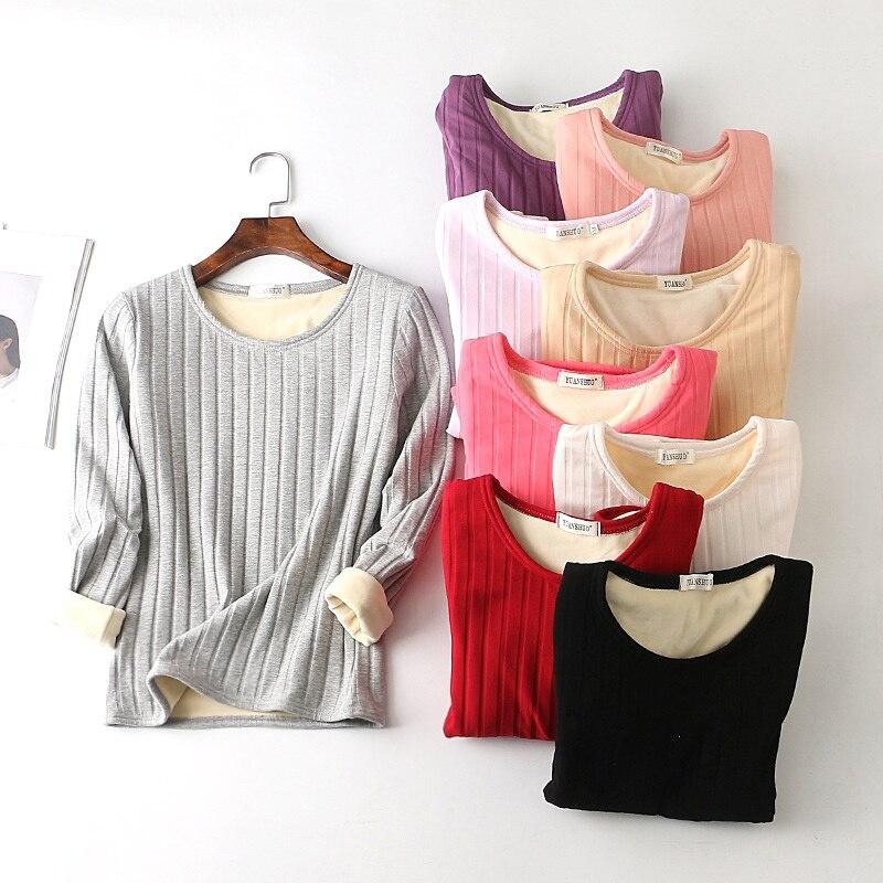 Women Sexy Slim Solid Underwear Winter Velvet Thermal Shirt Female Elegant O-Neck Thick Warm Striped Tops Inner Wear Basic JWHY