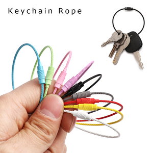 5Pcs Stainless Steel EDC Keyring Cable Wire Screw Lock Circle Loop Luggage Tag Holder Keychain Rope Outdoor Camping Hanging Tool