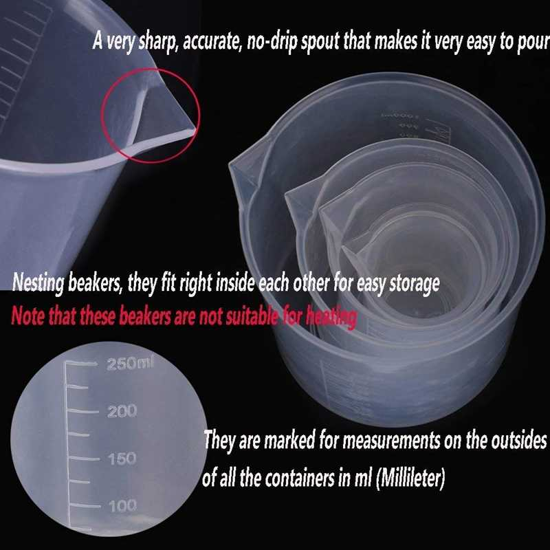 Набор пластиковых мерных стаканов 5 размеров (50, 100, 250, 500, 1000 мл) и 20 упаковок
