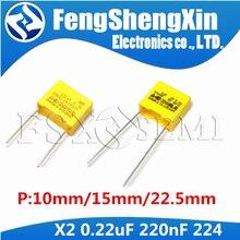 10 adet 220nF kondansatör X2 kondansatör 275VAC Pitch 275V 10mm 15mm 22.5mm X2 polipropilen film 224K 224 0.22uF güvenlik kapasitörler
