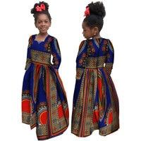 African Autumn Girl Dress Kids Dashiki Traditional Cotton Long Sleeve Dresses Matching Africa Print Girl Natural Dress WYT61