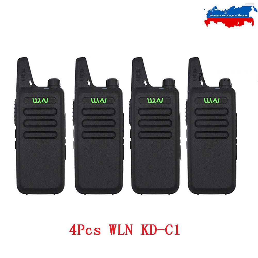 4PCS WLN Mini Walkie Talkie KD-C1 UHF 400-470Mhz  Handheld Two Way Radio Station Communication Transceiver Ham Radio