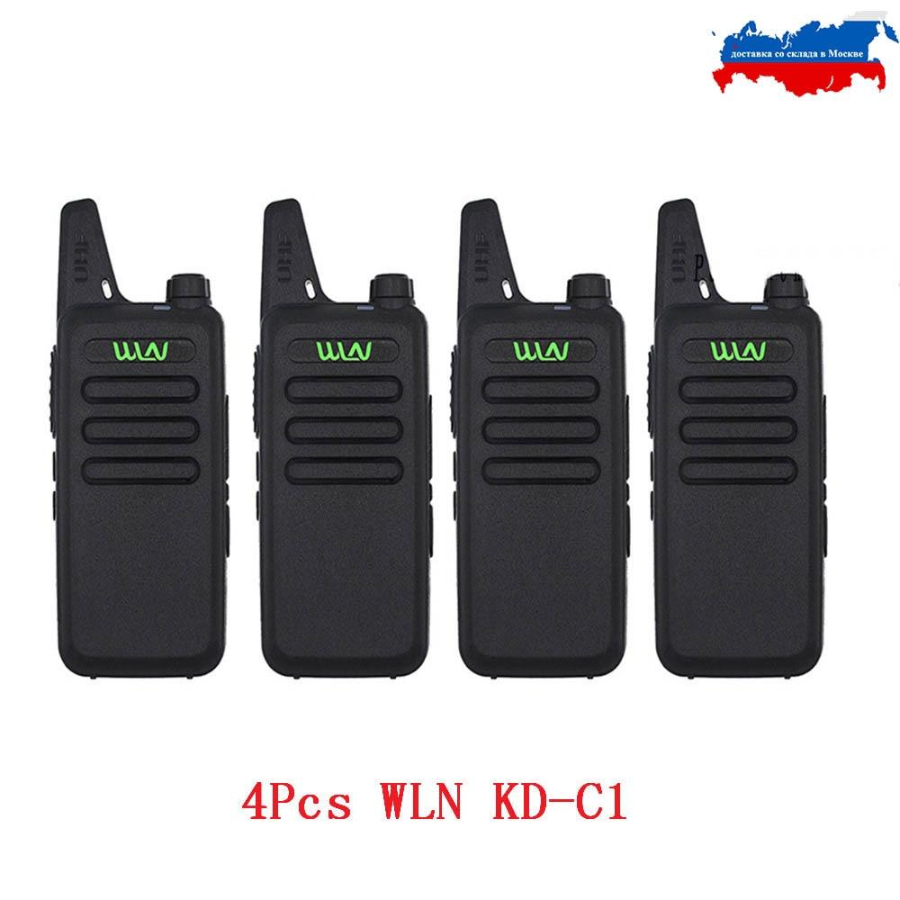 4PCS WLN Mini Walkie Talkie KD-C1 UHF 400-470Mhz  Handheld Two Way Radio Station Communication Transceiver Ham Radio