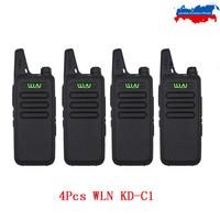 4PCS WLN Mini Walkie Talkie KD C1 UHF 400 470Mhz Handheld Two Way Radio Station Communication Transceiver Ham Radio