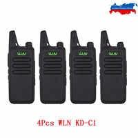 4PCS WLN Mini Walkie Talkie KD-C1 UHF 400-470Mhz Handheld Zwei Weg Radio Station Kommunikation Transceiver Schinken radio