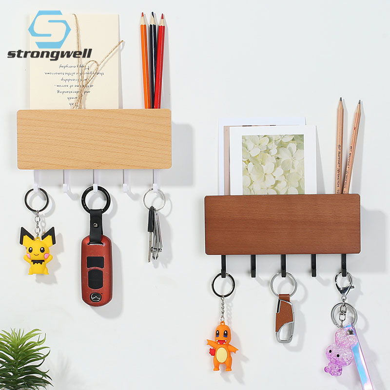Strongwell Nordic Wood Storage Rack Modern Simplicity Wall Hook Door Back Key Hanger Hooks Home Wall Decoration Hanging