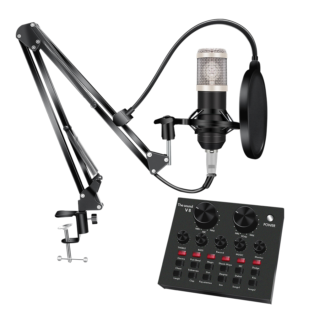 YQGOO BM800 Microphone Kit with V8 Sound Card Multifunctional USB Audio Interface Intelligent Volume Mic for Live Broadcast Live Sound Card Microphone Set Voice Changer