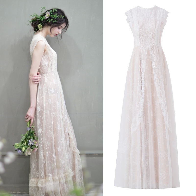 Sleeveless Champagne Boho Beach Wedding Dress Lace Dress Bohemian Bridal Gown 100% Real Sample Photo Factory Price