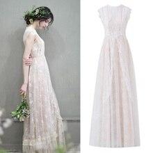 Sin mangas Champagne Boho playa vestido de novia vestido de encaje vestido de novia bohemio muestra 100% real foto precio de fábrica