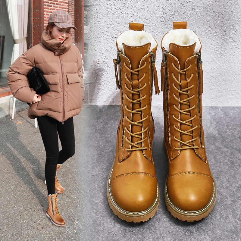 2019 nouveau à lacets hiver moto bottes femmes Style britannique mode neige bottes Punk talon bas marron botte femmes chaussure grande taille