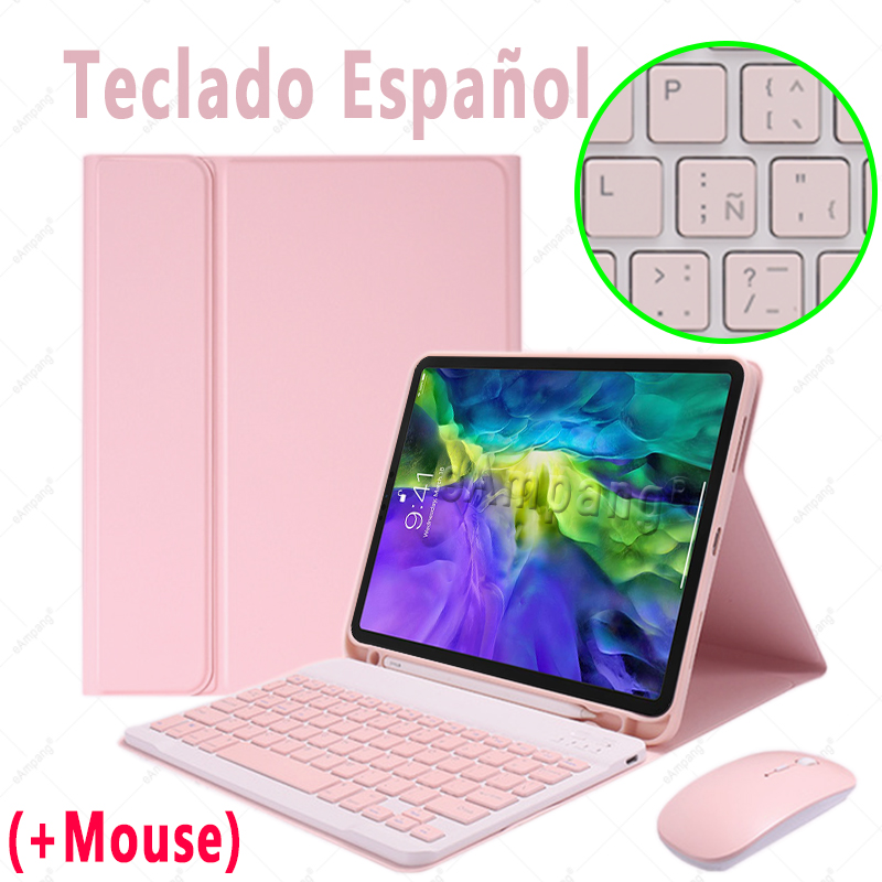 Spanish with Mouse Brown For iPad Air4 10 9 2020 A2324 A2072 Keyboard Mouse Case English Russian Spanish Korean Keyboard