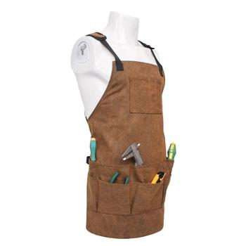 Adjustable Canvas Aprons Men Women Multi-Pocket Aprons DIY Woodworking BBQ Cooking Wear Resistant Aprons Kitchen Tools Aprons фото