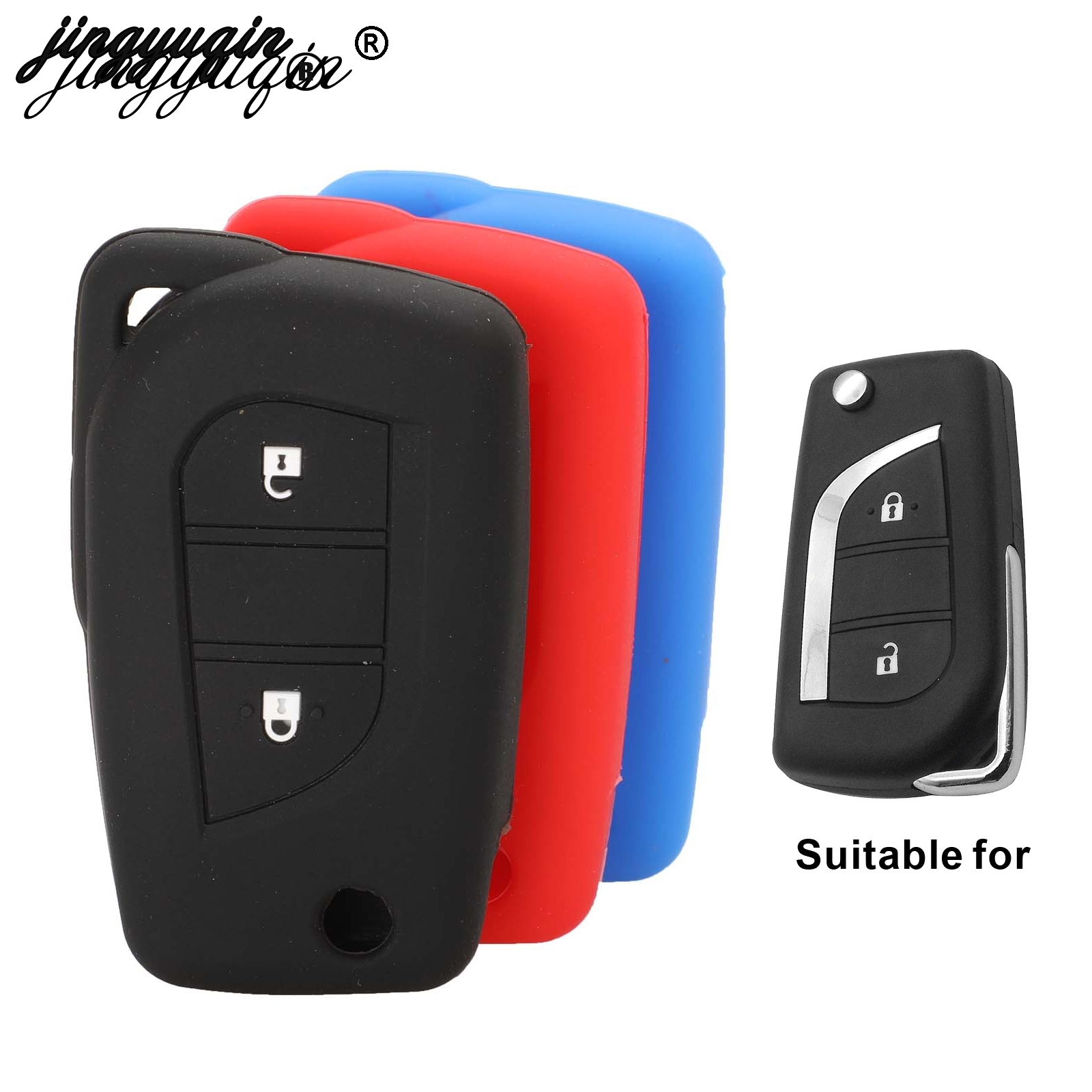 Jingyuqin For Toyota Hilux Corolla Fortuner RAV4 Silicone Car Key Cover Case Fob Flip Remote Key Case For 2 Buttons Car Styling