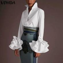 VONDA Maternity Shirts 2020 Women Sexy Turn-down Collar Flare Sleeve Pregnancy Tops Office Bohemian Blouses Casual Solid Blusas(China)