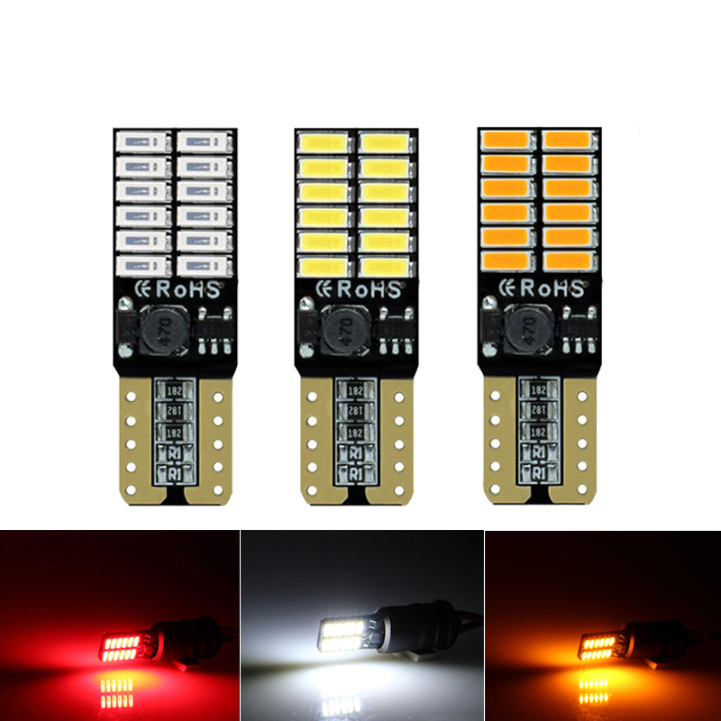 2x T10 W5W LED Canbus Signal Light 12V 24SMD Car Interior Reading Trunk License Plate Luggage Wedge Side Lamp Red Yellow White