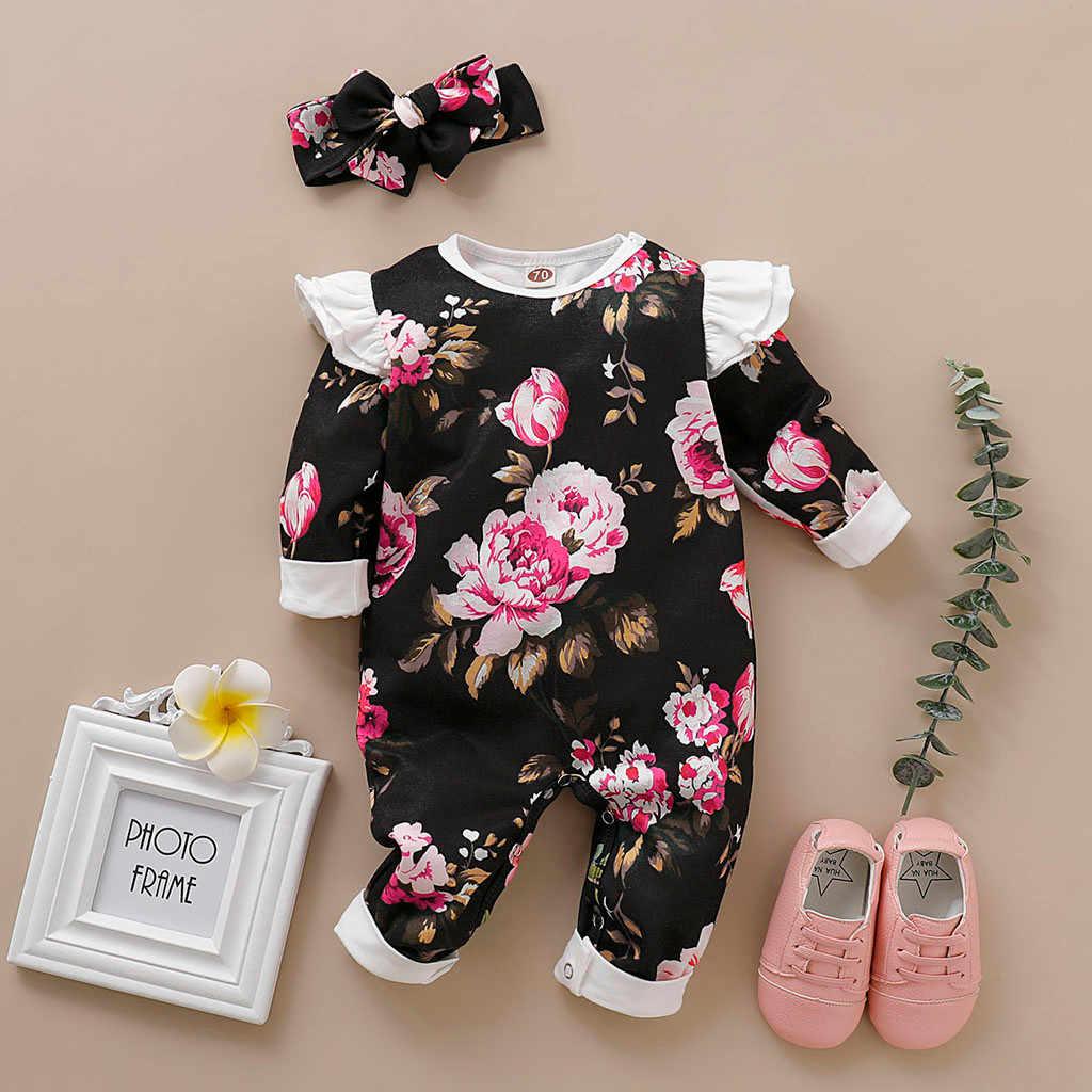 Детский осенний комбинезон в Корейском стиле для новорожденных мальчиков и девочек с длинными рукавами и цветочным принтом, Детский комбинезон с повязкой-бантом